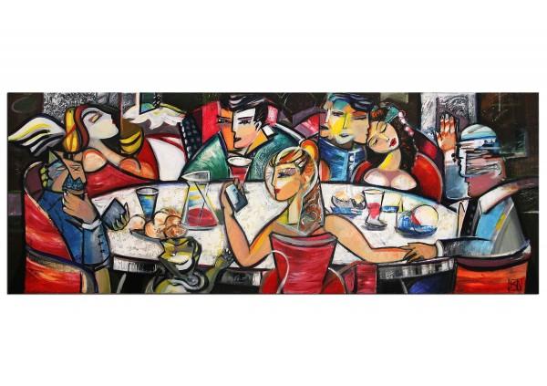 """RESERVIERT Modernes Gemälde von K. Namazi: """"Drink with Friends II"""" (A)"""