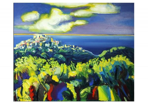 """Expressionistische Ölmalerei, Maciej Cieśla: """"Toskana, die Küste am späten Nachmittag"""""""