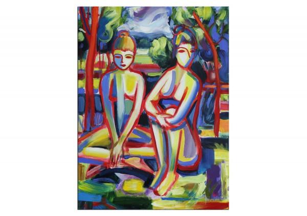 """Expressionistische Acrylmalerei , Maciej Cieśla: """"Zwei Mädchen in der Natur V"""" (A)"""