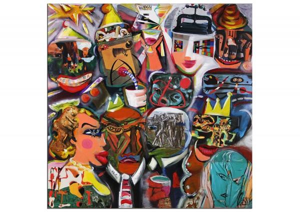 """Modernes Gemälde, K. Namazi: """"Karneval Party"""" (ri)"""