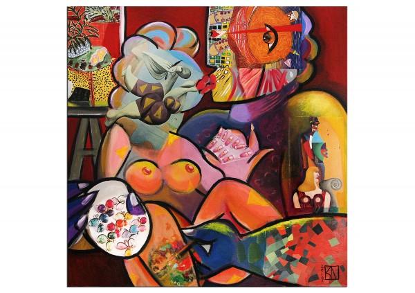 """Moderne Kunst von K. Namazi: """"Actionpainting - von der Muse geküsst"""" (ri, A)"""