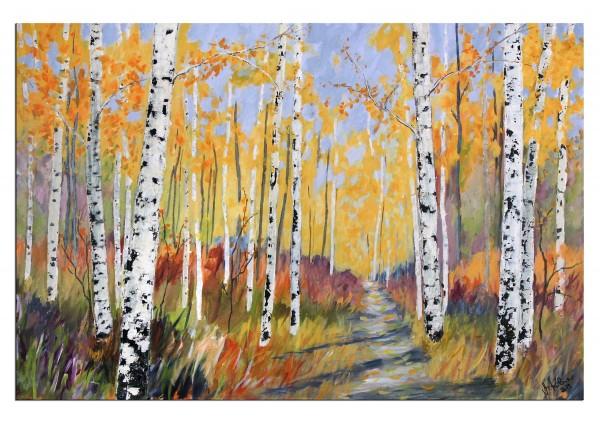 """Modernes Acrylgemälde, M.Kühne: """"Goldener Herbst"""""""