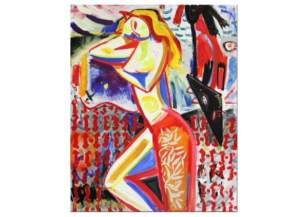 """Expressionistische Acrylmalerei , Maciej Cieśla: """"Mädchen mit einem Dackel im Bett liegend"""" (A)"""