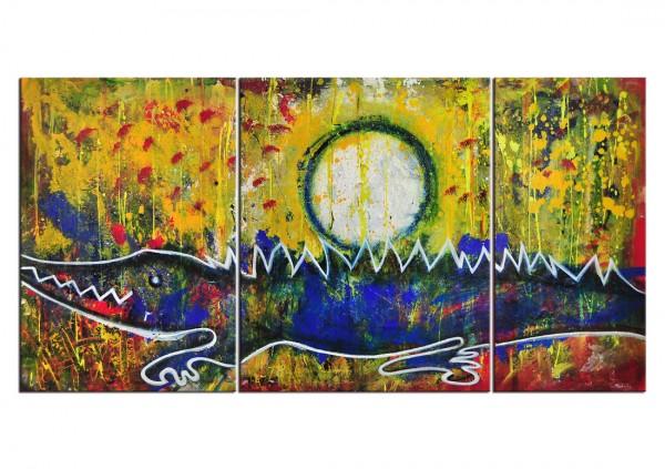 """Mehrteiliges Gemälde, C. David Schwartz: """"EL COCODRILO Y LA LUNA"""""""