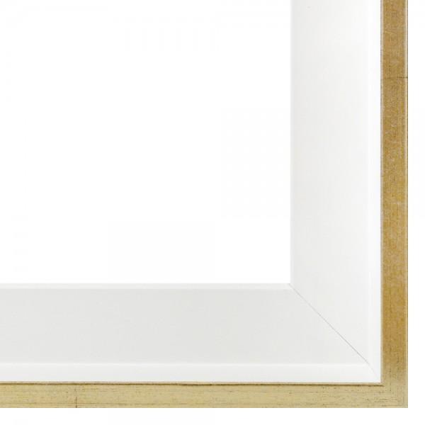 Premium Schattenfugenrahmen weiß/gold, SR-M4045A1463-wg, Bilderrahmen Holz, modern