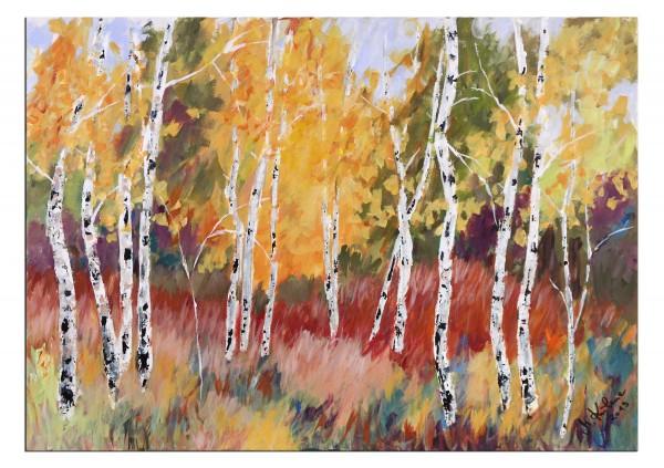 """Modernes Acrylgemälde, M.Kühne: """"Herbstwald"""""""