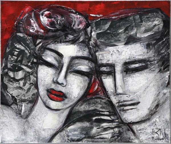 "K. Namazi: ""Die Nähe II"", moderne Originalkunst (Unikat) (A)"