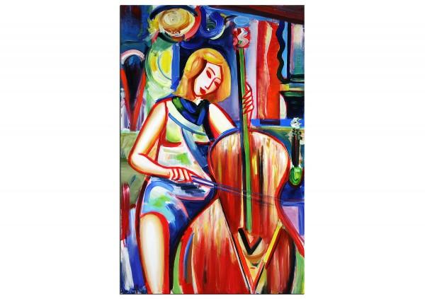 """Expressionistische Acrylmalerei , Maciej Cieśla: """"Komposition mit einem Mädchen und Cello IV"""" (A)"""