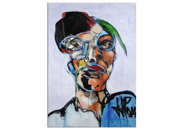 """Porträt, J.J. Piezanowski: """"J'aurai voulu être un clown blanc"""", Originalgemälde (Unikat)"""