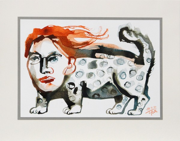 """L. Roth: """"Leopardenfrau"""", originale Grafik/Zeichnung (Unikat)"""
