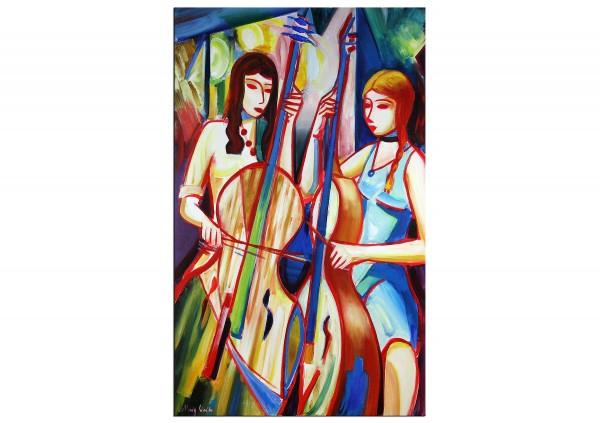 """Expressionistische Acrylmalerei , Maciej Cieśla: """"Komposition mit einem Mädchen und Cello V"""" (A)"""
