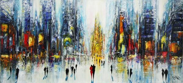 "Originales Acrylgemälde (Unikat), K. Namazi: ""Sunday in the City II"" (ri, A)"