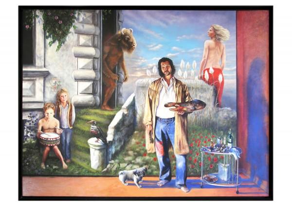 """Großformat, psychologischer Realismus von André Mimor: """"Blaue Schatten"""",Originalgemälde (Unikat)"""