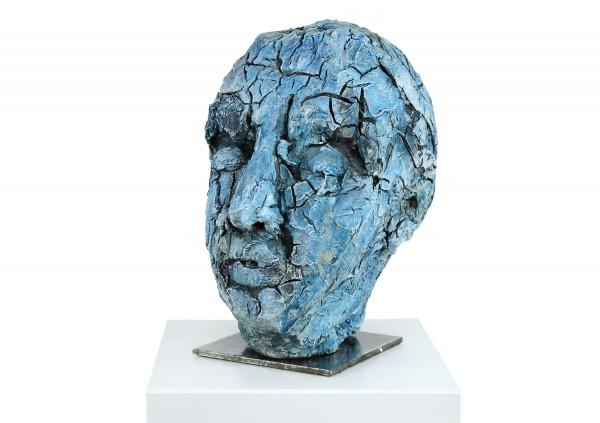 """Zeitgenössische Skulptur, Ilona Schmidt: """"Blauer Kopf"""""""