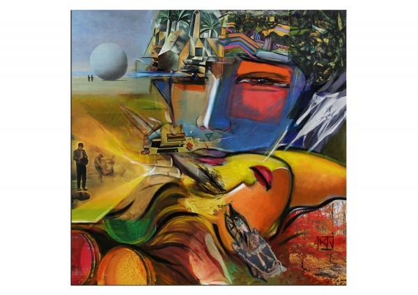 """Modernes Gemälde, K. Namazi: """"Die Welt gehört uns"""""""