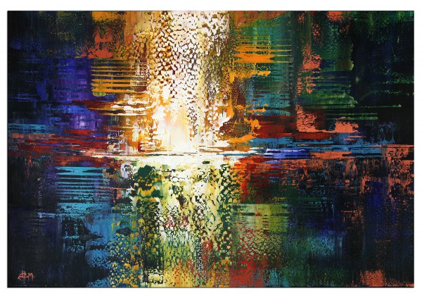 "Abstrakte Kunstbilder, G. HUNG: ""Elementar III"", Originalgemälde (Unikat)"