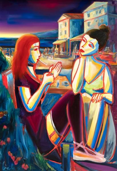 "M. Cieśla: ""Toskana Küste, Sonnenaufgang"", Original/Unikat, expressionistisches Ölgemälde"