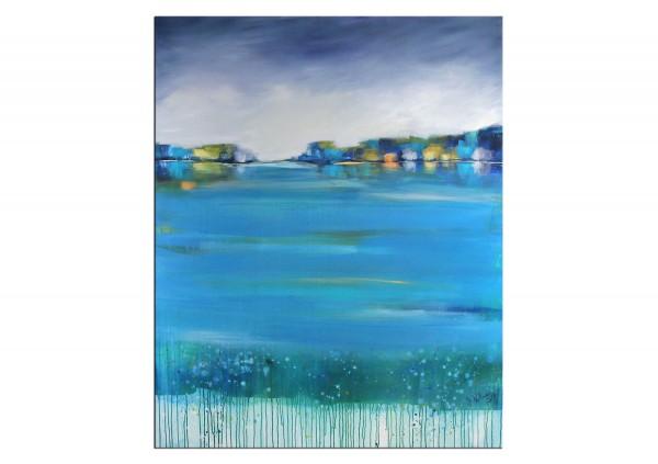 """Acrylgemälde, M.Kühne: """"Abendlicht am See"""""""