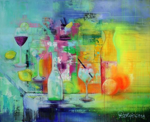 """Edition, signierter Kunstdruck auf Leinwand, M. Rathje: """"Sommerfrischer Cocktailmix"""""""