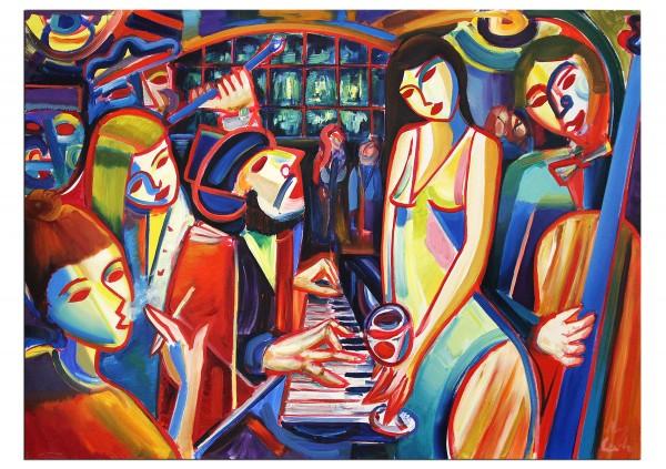 """Expressionistische Ölmalerei, Maciej Cieśla: """"Musik und Abend, Oldschool 07 2019"""" (A)"""