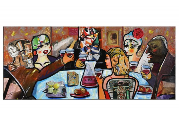 """Modernes Gemälde von K. Namazi: """"Stammtisch I"""", Originalgemälde (Unikat) (A)"""