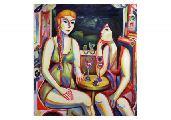 """(VERKAUFT) Ölmalerei, Maciej Cieśla: """"Langweiliger Abend, zwei Mädchen"""""""