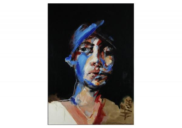 """Neoexpressionismus, Porträt, J.J. Piezanowski: """"La mener sans termes"""", Originalgemälde (Unikat)"""