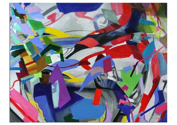 """Zeitgenössische Ölmalerei von Stefan Petrunov: """"Composition II"""", Originalgemälde (Unikat) (A)"""