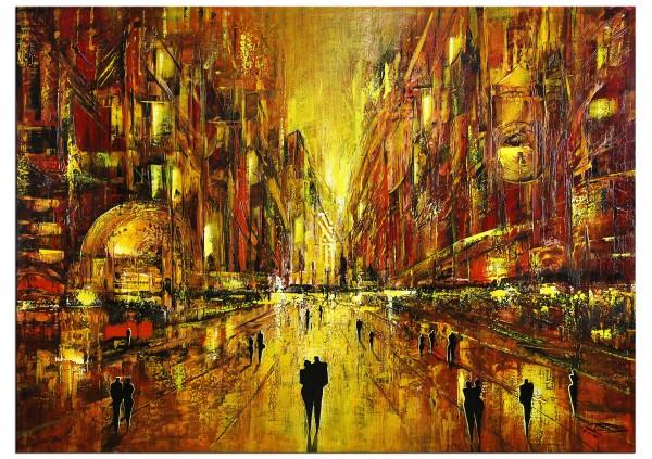 "Modernes Gemälde, K. Namazi: ""In Gold erstrahlt die Nacht I"", Originalgemälde (Unikat)"