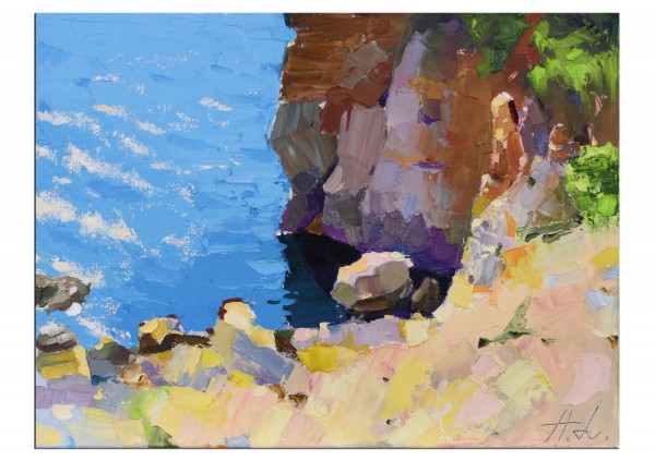 "Pleinairmalerei in Öl, Andy Larrett: ""Ein Fels"" (A)"