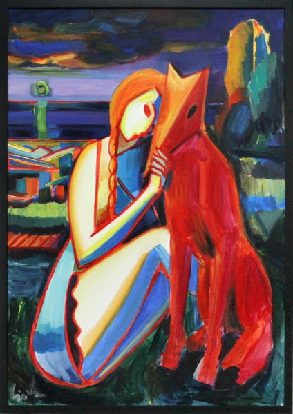 """M. Cieśla: """"Mädchen mit Hund, Sonnenuntergang III"""", Expressionistisches Acrylgemälde, Original/Unika"""