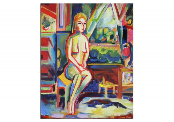 """Expressionistische Ölmalerei, Maciej Cieśla: """"Mädchen am Fenster"""""""