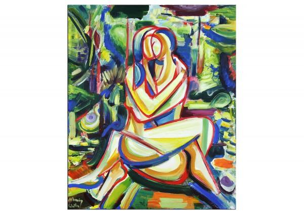 """Expressionistische Acrylmalerei , Maciej Cieśla: """"Liebhaber in der Natur V"""""""