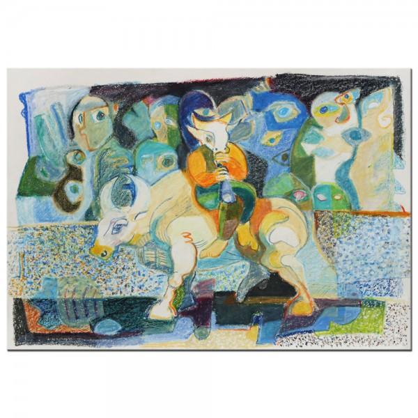 """F.O. Haake: """"Minotaurus reitet in die Stadt"""", originale Zeichnung, Unikat"""