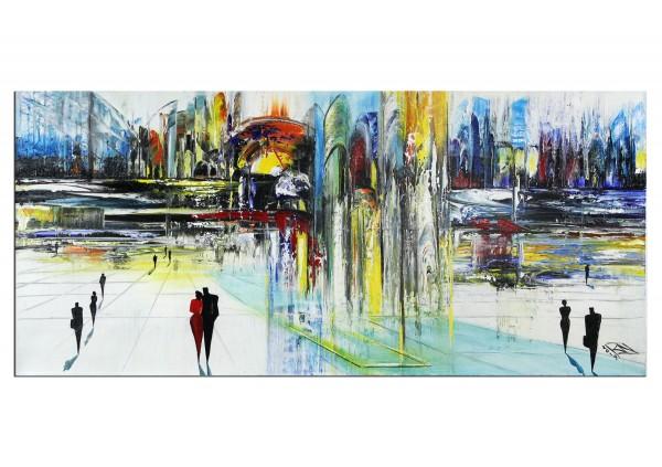 """Modernes Gemälde, K. Namazi: """"Stadt am Fluss"""" (A)"""