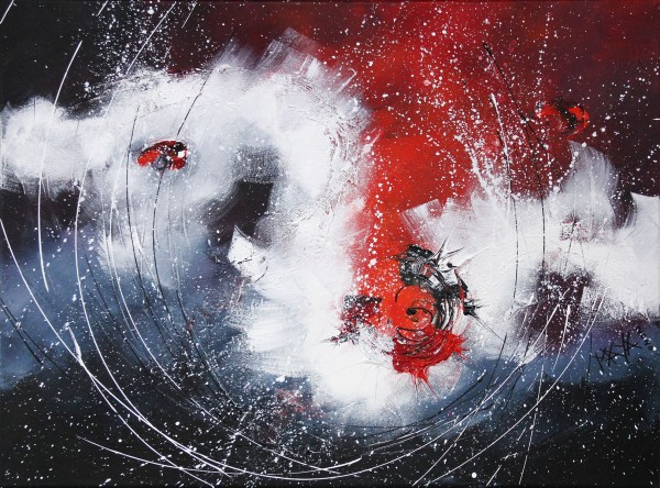 "Maya: ""Roter Wirbel"", Originale Acrylbilder (Unikat)"
