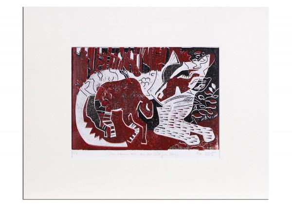 """Grafik, mehrfarbiger Linoldruck von Frank-Ole Haake: """"Lammwolf"""""""