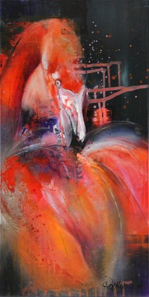 "M. Rathje: ""Pretty flamingo"", Edition, signierter Kunstdruck auf Leinwand"