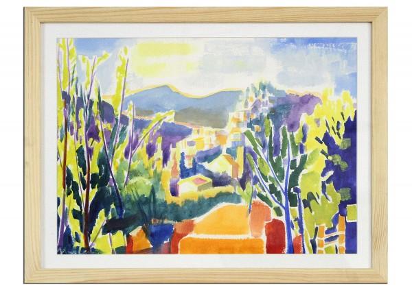 """Zeitgenössische Aquarellmalerei von Maciej Cieśla: """"Landschaft von der Toskana inspirert 02.2019"""" (A"""