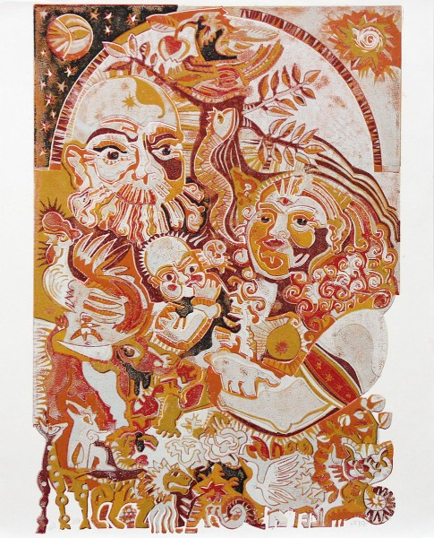 "F.O. Haake: ""Heilige Familie"", originale Grafik/serielles Unikat, mehrfarbiger Linoldruck"