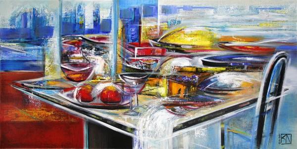 "K. Namazi: ""Gedeckter Tisch II"", originales Acrylgemälde (Unikat) (A)"