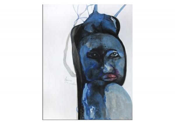 """Acrylmalerei auf Papier, E.v.d.Meer: """"AOIMI (BLUE BEAUTY)"""""""