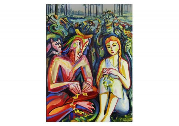 "Expressionistische Ölmalerei, Maciej Cieśla: ""Kränze II"""