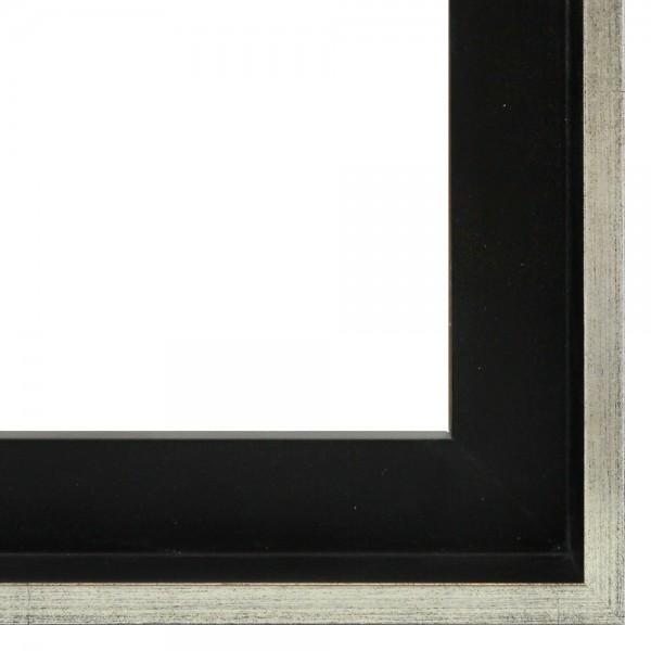 Premium Schattenfugenrahmen schwarz/silber, SR-M4045A1262-ss, Bilderrahmen Holz, modern