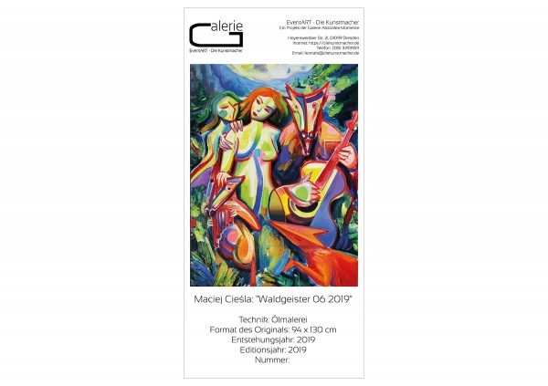 """Sonderedition, Monatsgemälde als Kunstdruck v. Maciej Cieśla: """"Waldgeister 06 2019"""""""