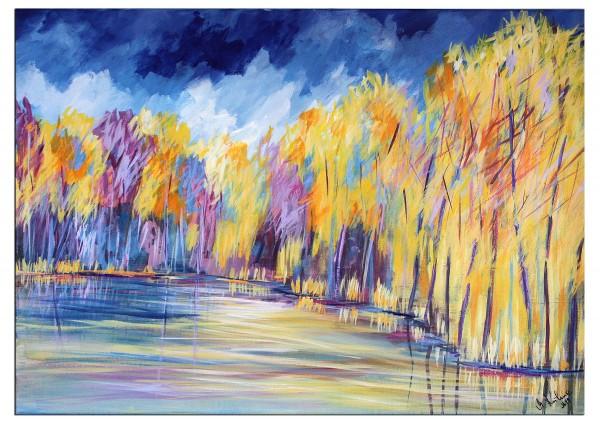 """Modernes Acrylgemälde, M.Kühne: """"Herbstleuchten am See"""""""