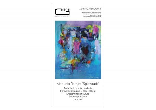 """Sonderedition, Monatsgemälde v. Manuela Rathje: """"Spielstadt"""""""