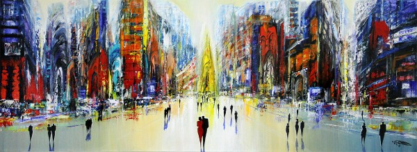"K. Namazi: ""Sunday in the City III"", originales Acrylgemälde (Unikat) (A)"