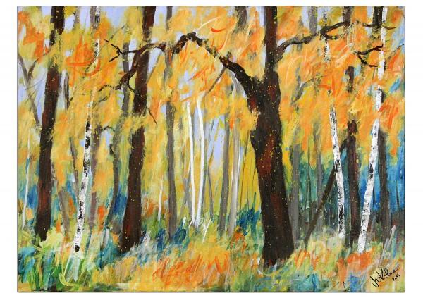 """Modernes Acrylgemälde, M.Kühne: """"Waldspaziergang"""""""