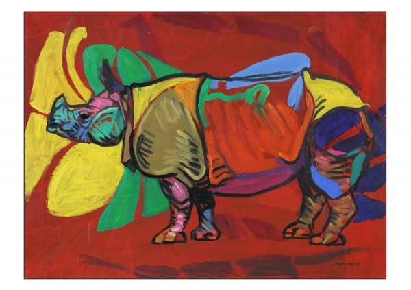 """Zeitgenössisches Ölgemälde von Stefan Petrunov: """"Rhino (red background)"""", Originalgemälde (Unikat)"""